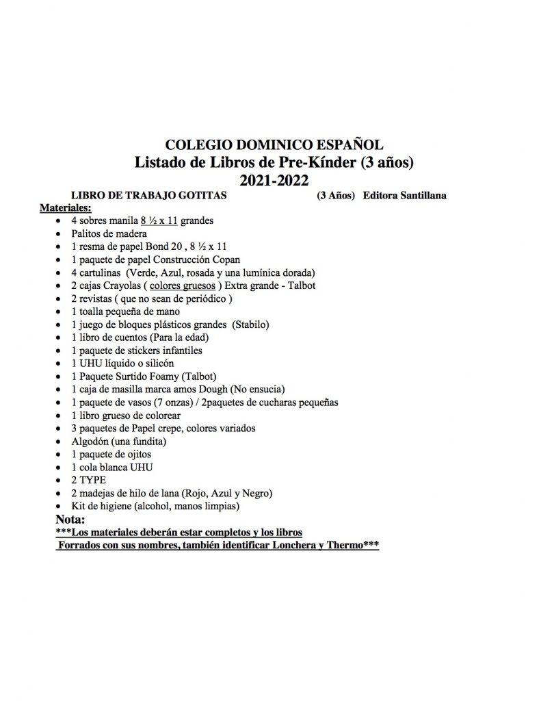 Listado de Libros de Pre-Kínder 2021-2022