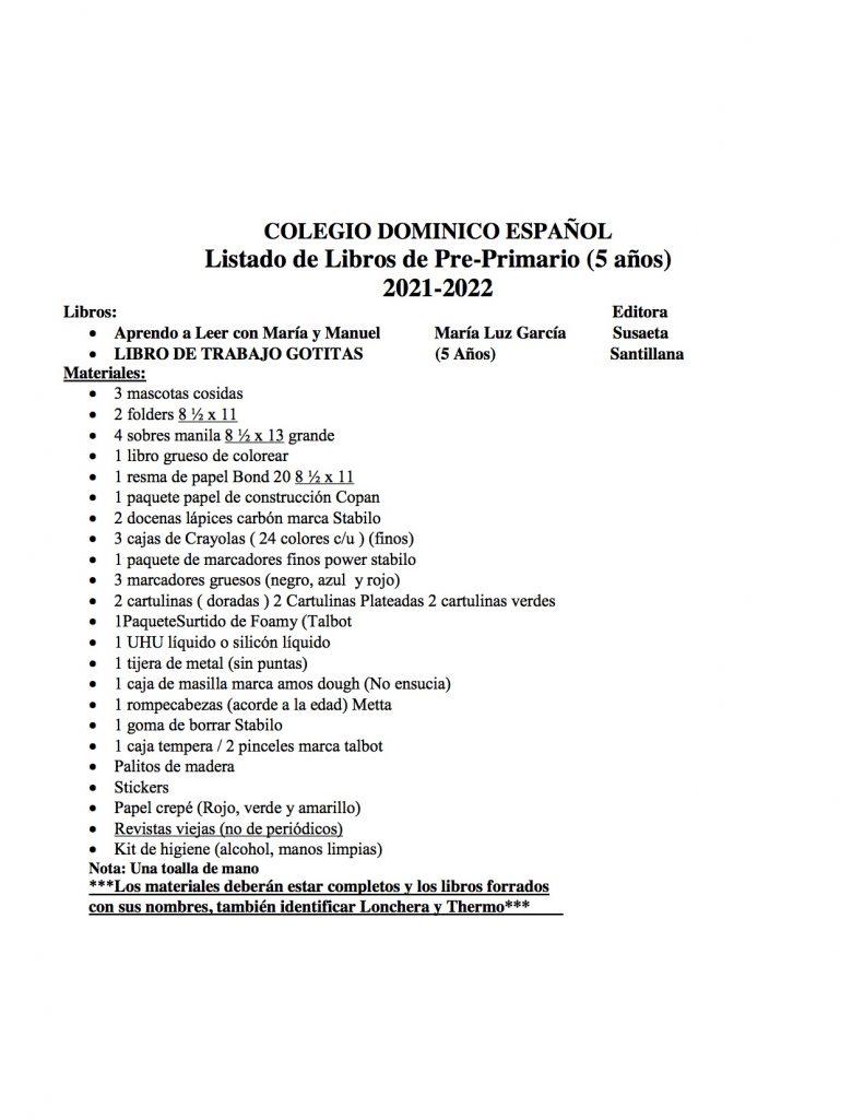 Listado de Libros de Pre-Primario (5 años) 2021-2022