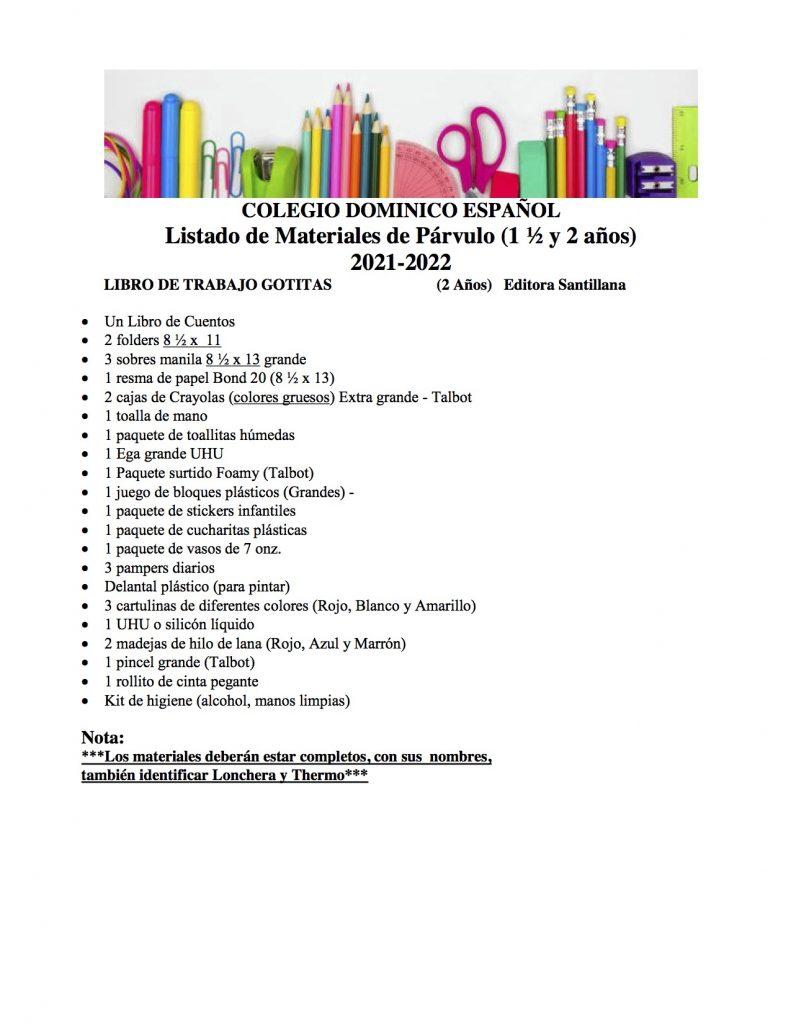 Listado de Materiales de Párvulo 2021-2022